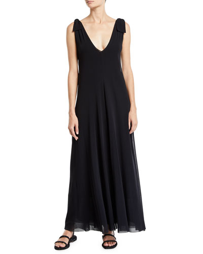 Solid Tie-Shoulder Sleeveless Double Maxi Dress