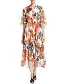 Fuzzi Half-Sleeve V-Neck Leaf-Print Tulle Dress