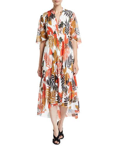Half-Sleeve V-Neck Leaf-Print Tulle Dress