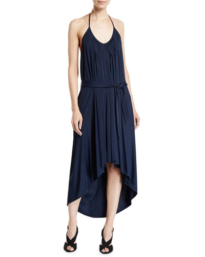 High-Low Halter Jersey Dress w/ Belt