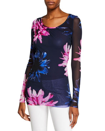 Fracture Floral-Print Scoop-Neck Long-Sleeve Tulle Tee