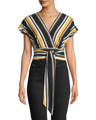 Noora Striped Tie-Front Crop Top