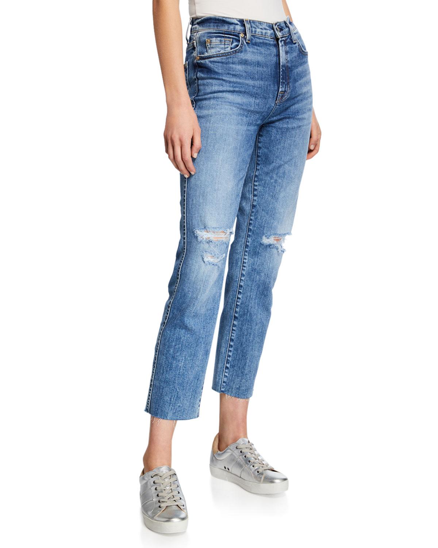 Edie Distressed Straight Jeans In Pretty Vintage Blue in Medium Blue