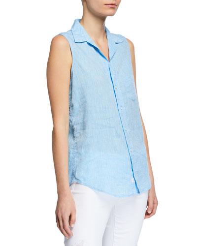 Sleeveless Button-Down Linen Shirt w/ Chest Pocket