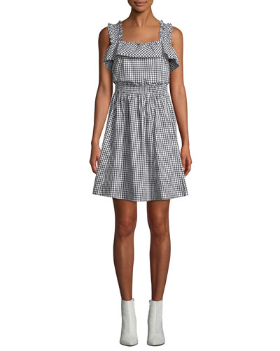 Ruffled Gingham Tie-Back Fit-and-Flare Dress