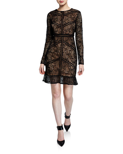 b5a6d1744ddf Quick Look. Bardot · Sasha Long-Sleeve Lace Dress