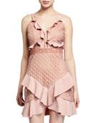Bardot Fae Lace Bustier Ruffle Mini Dress