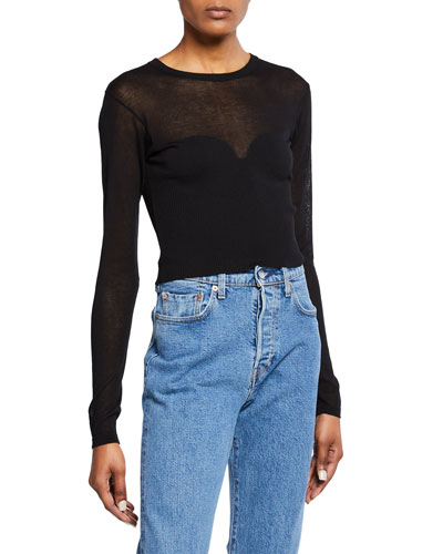 Crewneck Long-Sleeve Cropped Knit Illusion Tee