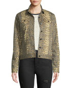 ATM Anthony Thomas Melillo Leopard-Print Button-Front Denim