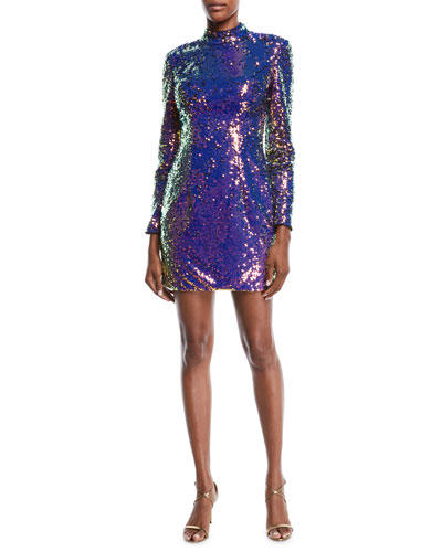 7e1eed66fbb9 Quick Look. Jovani · Long-Sleeve Sequin Short Cocktail Dress ...