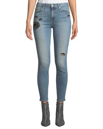 Ankle-Length Bleached Hem Skinny Jeans