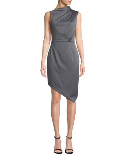 Divine Sleeveless High-Neck Asymmetric Satin Dress