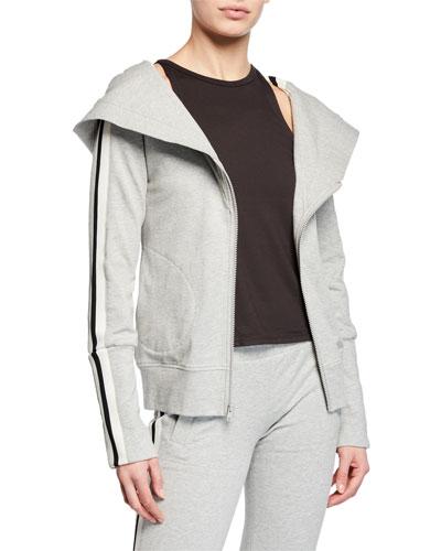 Zip-Hood Side Stripe Hoodie Sweatshirt