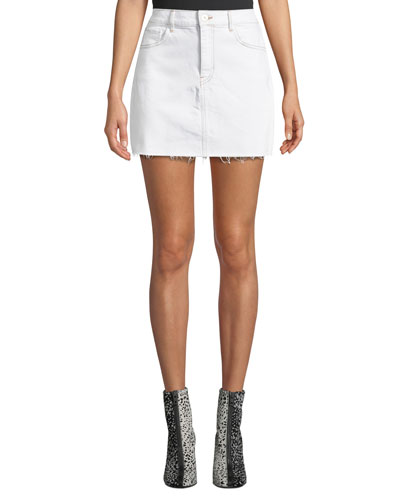 Celine High-Waist Frayed Denim Short Skirt