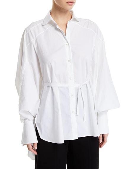 palmer//harding Streep Draped-Back Cotton Button-Front Shirt