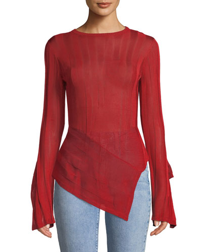 10a20348673 Asymmetric Hem Long Sleeve Sweater