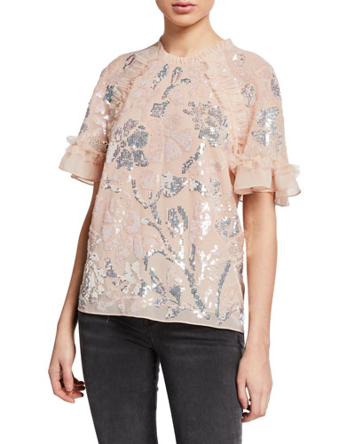 Floral Gloss Ruffle Tulle Sequined Top