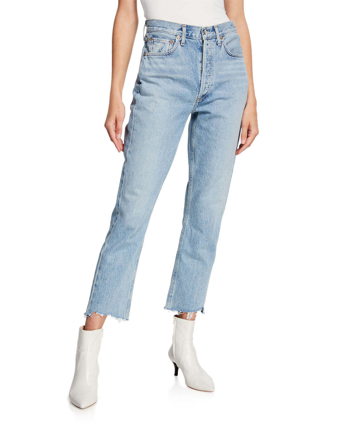 AGOLDE Riley High-Rise Straight Crop Stagger Jeans in Zephyr