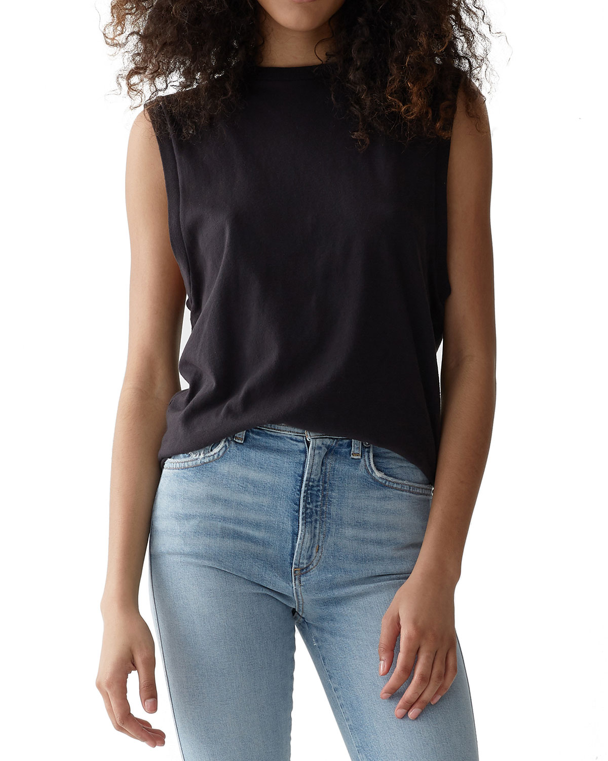 A GOLD E Sleeveless Cotton Muscle Tee in Nocturne