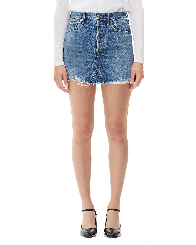 AGOLDE Quinn High-Rise Frayed Denim Skirt in Ride