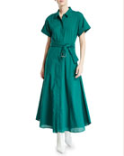 CAMILLA AND MARC Maya Button-Front Short-Sleeve Cotton Dress