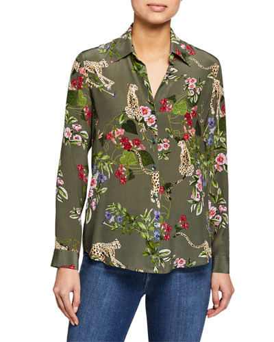Nina Long-Sleeve Floral Silk Blouse