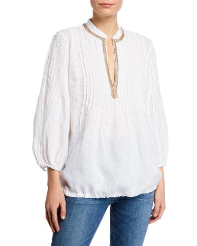 3/4-Sleeve Pintuck Poet Shirt w/ Embellished Mandarin Collar & Drawstring Hem