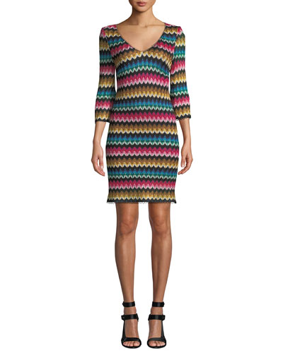 Orchestra 3/4-Sleeve Rhythm Raschel Knit Dress