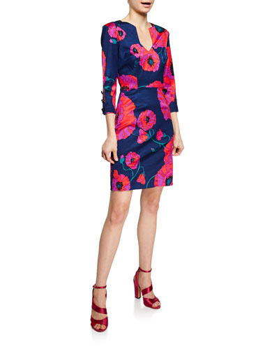 Coltrane Vanguard Floral Faille 3/4-Sleeve Dress