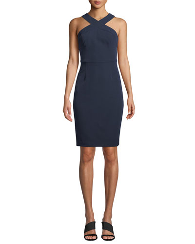 Ace Halter Smoothie-Solid Sheath Dress