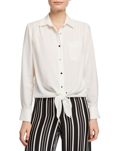 Helinda Button-Front Long-Sleeve Birdseye Blouse w/ Self-Tie Hem