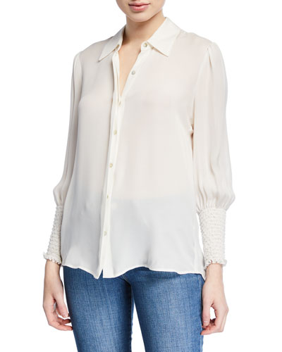 Lucien Smocked-Cuff Collared Blouse