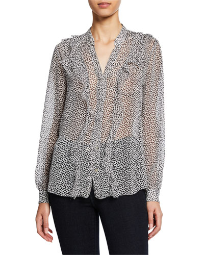Nadine Semi-Sheer Long-Sleeve Ruffle Shirt