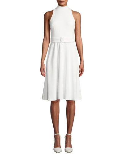 Lylah Full Skirt Halter Dress with Belt