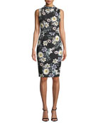 Black Halo Corrine Sleeveless Floral-Printed Sheath Dress