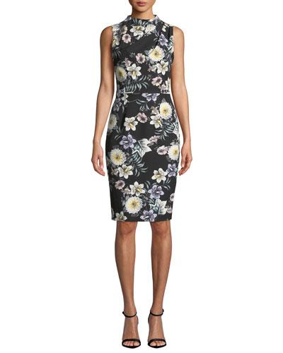Corrine Sleeveless Floral-Printed Sheath Dress