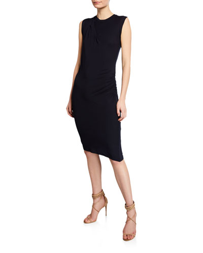 Crewneck Sleeveless Bodycon Dress with Side Ruching