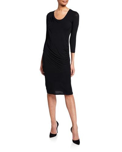 Soft Touch Scoop-Neck 3/4-Sleeve Drape Dress