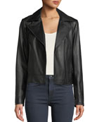 Neiman Marcus Leather Collection Asymmetric Zip-Front Long-Sleeve