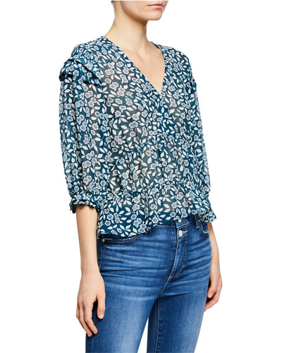 25fe5893583 Quick Look. ba&sh · Blanche Floral-Print 3/4-Sleeve Top