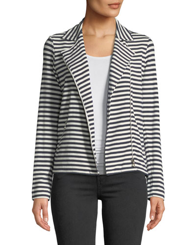 Zip-Front Long-Sleeve Striped Moto Blazer