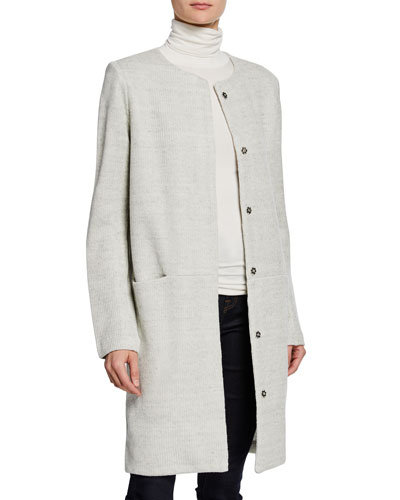 Button-Front Textured Linen Topper Jacket