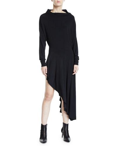 All-in-One Long-Sleeve Stretch Jersey Asymmetrical Dress