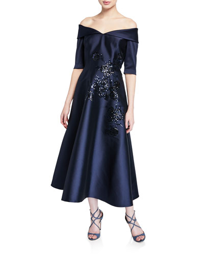 Off-the-Shoulder Elbow-Sleeve Mikado Dress w/ Sequin Detail