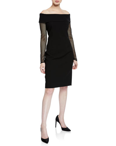 Off-the-Shoulder Mesh-Sleeve Crepe Dress