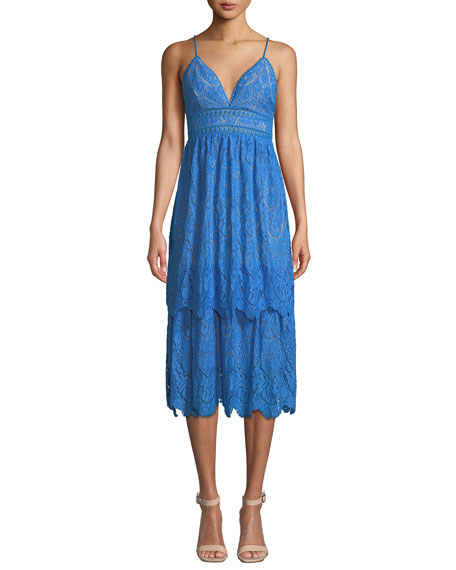 Saylor Lace V-Neck Spaghetti-Strap Midi Dress