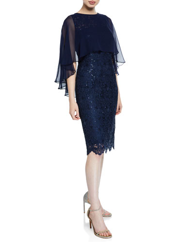 Sequin Draped-Sleeve Lace Sheath Dress with Chiffon Capelet