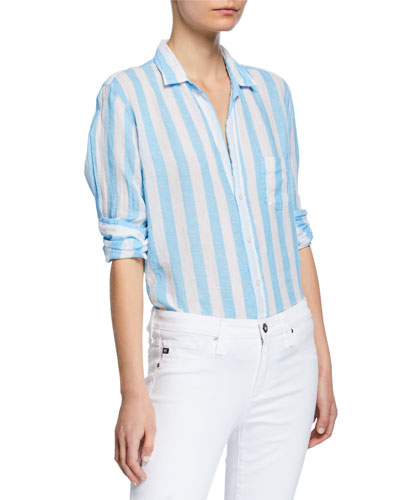 b0ce9fd9 Quick Look. Frank & Eileen · Striped Long-Sleeve Button-Down Linen Shirt