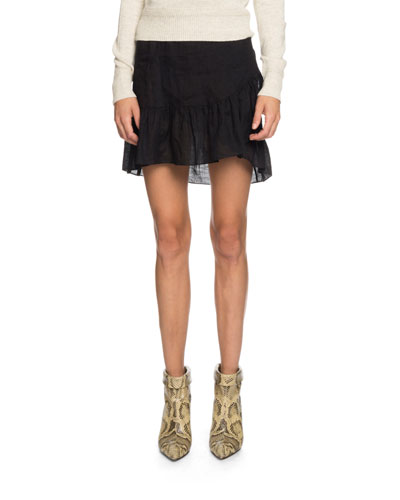 Tempster Linen Flounce Wrap Skirt