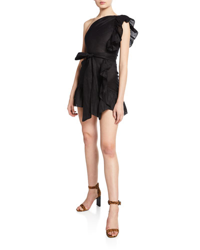 Teller One-Shoulder Ruffle-Accented Mini Dress